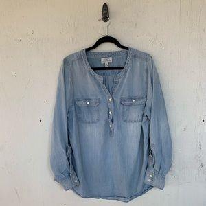 Lucky Brand Chambray Henley Button Shirt